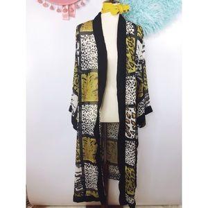38314fd05b Vintage Jackets   Coats - Vtg 80s Animal Print Kimono Duster Jacket M